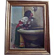"Enchanting Artist Signed Oil Painting after Leon Bonnat ""Roman Girl at Fountain"""