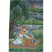 Fine Indian Romantic Mughal Miniature Gouache Painting