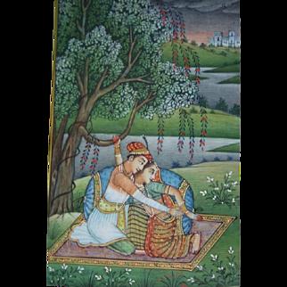 MIniature Fine Indian Romantic Mughal Gouache Painting