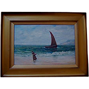 Antique Scottish Oil on Canvas Figure in Seascape