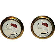 Rare Mens 1950s Large Reverse Carved Vintage Intaglio Airedale Cufflink