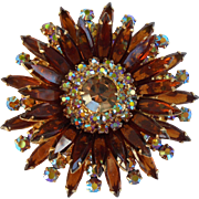 Book Piece Huge Juliana D&E Book Piece Flower Sunburst Rhinestone Navette Brooch
