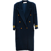 Christian Dior Vintage Military Style 1980s Women's Couture Coat Sz 8