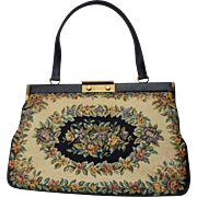 Beautiful Large Floral Tapestry Handbag Made in Denmark