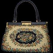 Beautiful Large Spring Floral Black, Beige & Flowers Tapestry Handbag Made in Denmark