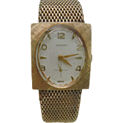 Ladies Swiss Made Mesh Band Gold Plated Mid Century Wrist Watch by Sanford