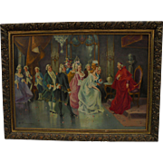 French Court with Cardinal Scene Oil Painting
