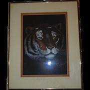 Vintage Original Siberian Tiger Pastel Portrait Signed