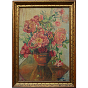 Vintage Still Life Floral Oil Painting in Gilt Wood Frame