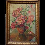 Vintage Still Life Floral Oil Painting in Gilt Wood Frame
