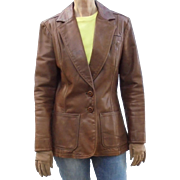 1970s NYC Oshwahkon Vintage Broadway Brown Leather Ladies Blazer Jacket Size M East West