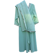 Vintage Mary Martin of Florida Dress w/ Shawl  2 Piece Ensemble Mint Green with Sequins