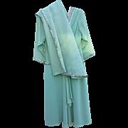 Gorgeous Mary Martin of Florida Dress w/ Shawl  Sea Green & Sequins