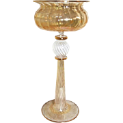 Magnificent 19th Century Bohemian Amber Colored Monumental Glass Goblet
