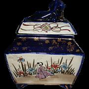 Antique Signed Japanese Foo Dog Finial Covered Scenic Cobalt Porcelain Porcelain Box