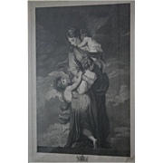 18th Century Museum Worthy Oxford Univ Antique Stippel Engraving c1790s Charity by Facius Oxford Windows