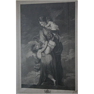 Museum Worthy Oxford Univ 18th Century Antique Stippel Engraving c1790s Charity by Facius Oxford Windows