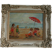 Reserved for Claire**Hollywood Royalty Actress and Listed Artist Susan Larson (1910- 1981) Original California Beach Scene Oil Painting