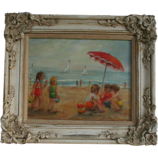 Hollywood Royalty Actress and Listed Artist Susan Larson (1910- 1981) Original California Beach Scene Oil Painting