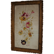 1910 Dated Floral Antique Watercolor in Gilt Wood Frame