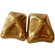 NYC Designer Haute Couture Steve Vaubel 18k Gold Plated Chunky X Design 1992 Modernist Earrings