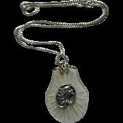 Vintage Sterling Silver Art Nouveau Style Face Camphor Pendant Necklace