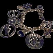 Vintage Sterling Travel Theme Charm Bracelet