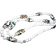Vintage Chinese Export Necklace Snakes & Dragons Painted Beads White Agate