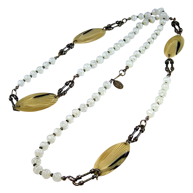 MIRIAM HASKELL Lucite Disks and Art Glass Beads Necklace