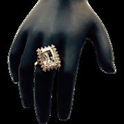 Vintage Gold Tone Emerald Cut Brilliant Glass Fashion Ring