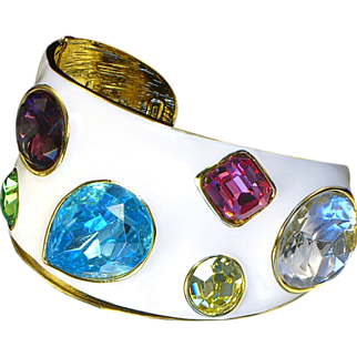 Vintage Kenneth Lane White Enamel Crystal Jewel Cuff With 18K Gold Plate