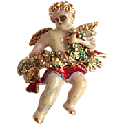 Vintage Christopher Radko Christmas Cherub Pin