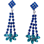 Austrian Blue and Deep Aqua Crystal And Silver Tone Earrings