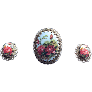 Western Germany Filigree And Roses Sugared Brooch and Earrings Set