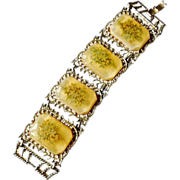 Chunky Acrylic and Gold Tone Four Panel Bracelet