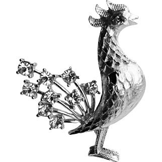 Mamselle Silver Tone and Rhinestone Figural Rooster Pin