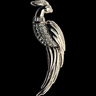 Monet Gold Tone and Rhinestone Bird of Paradise Pin Circa 1970's