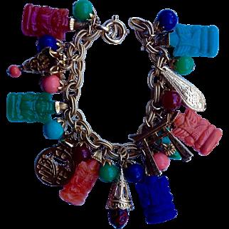 Napier Asian Theme Circa 1980's Charm Bracelet