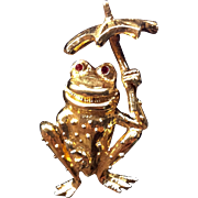 Vintage Signed Gold Tone Figural Frog Trembler Pin