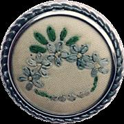 Vintage Hand Embroidered Floral Brooch