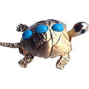 Pell 1980's Turtle With Turquoise Cabochons Figural Pin