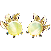 Amérique Yellow Thermoset And Rhinestone Clip On Earrings