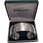 Vintage Kirk Stieff Flower Of The Month Pewter Cuff
