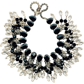 Signed Kenneth Lane Fantastic Waterfall of Jewels Bib Necklace Circa 1970's