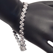 Vintage Sterling Silver And Diamond T Link Tennis Bracelet