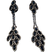 Fabulous Deep Blue Sapphire Color Glass And Paste Earrings