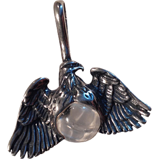 Vintage Eagle On Round Clear Glass Jewel 925 Silver Pendant