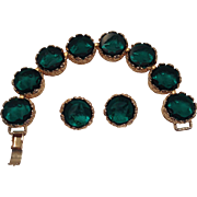 Vintage Emerald Green Intaglio Glass Bracelet And Earrings