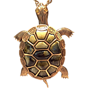 Awesome Articulated Figural Turtle Pendant Necklace