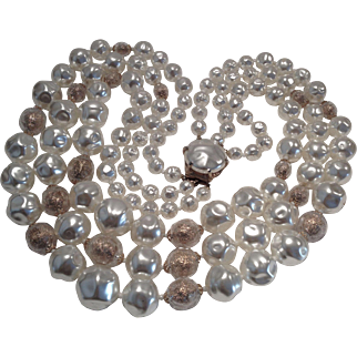 Fabulous And Huge Vintage Faux Pearl Necklace